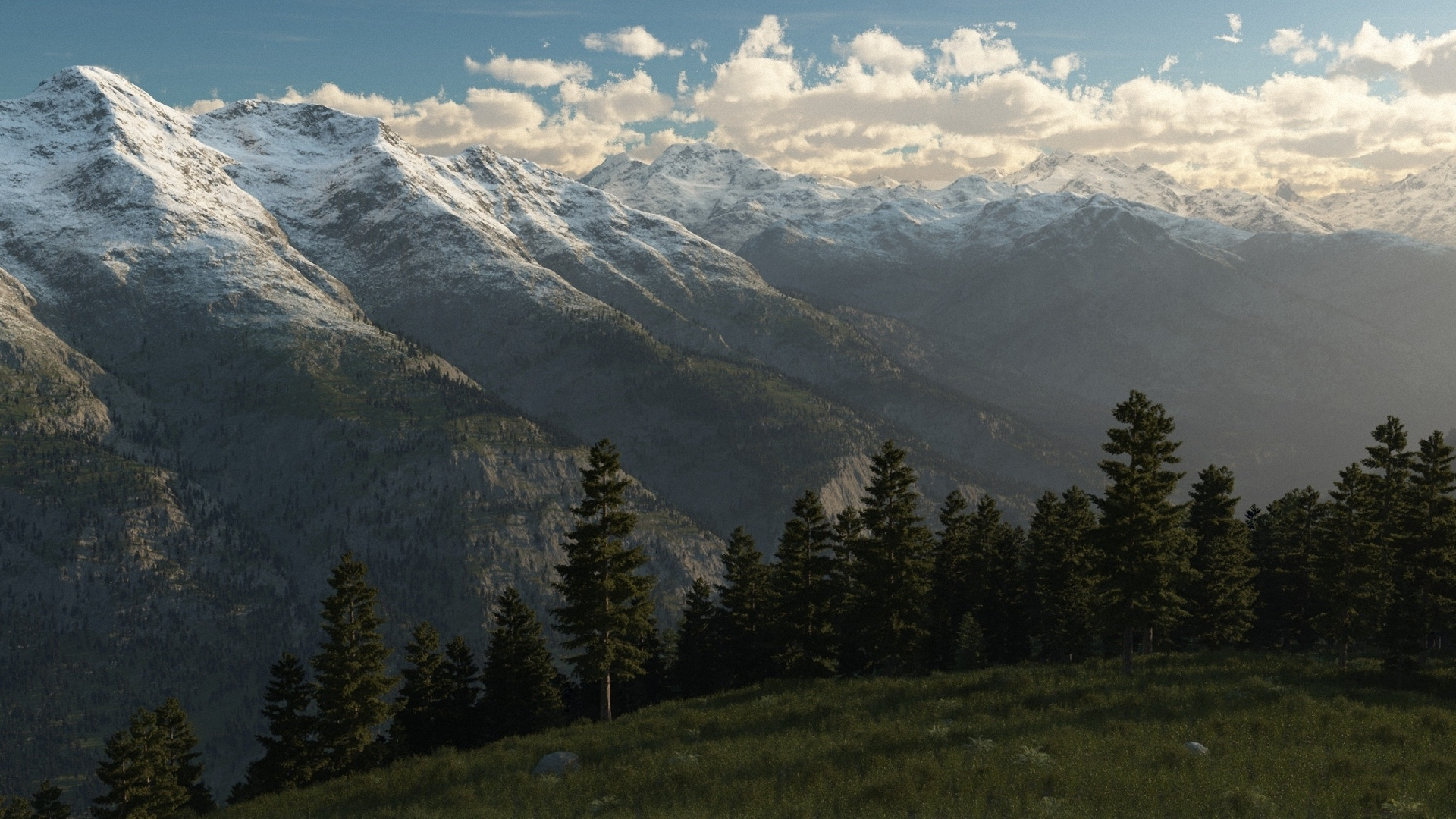 Wonderful Wallpaper Mountain Art - Trees-Landscape-Ridge-Hill-Art-Peaks-Wallpaper-1920x1080  Photograph_4866.jpg