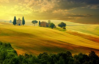 Tuscany Autumn Italy Sunset Nature Wallpaper 5120x3200 340x220