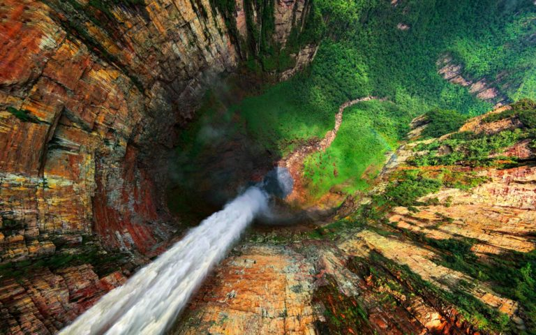 Waterfall Aerial Wallpaper 768x480