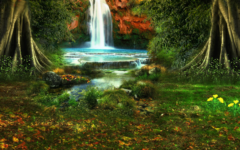 Waterfall Trees Vegetation Nature Wallpaper 768x480