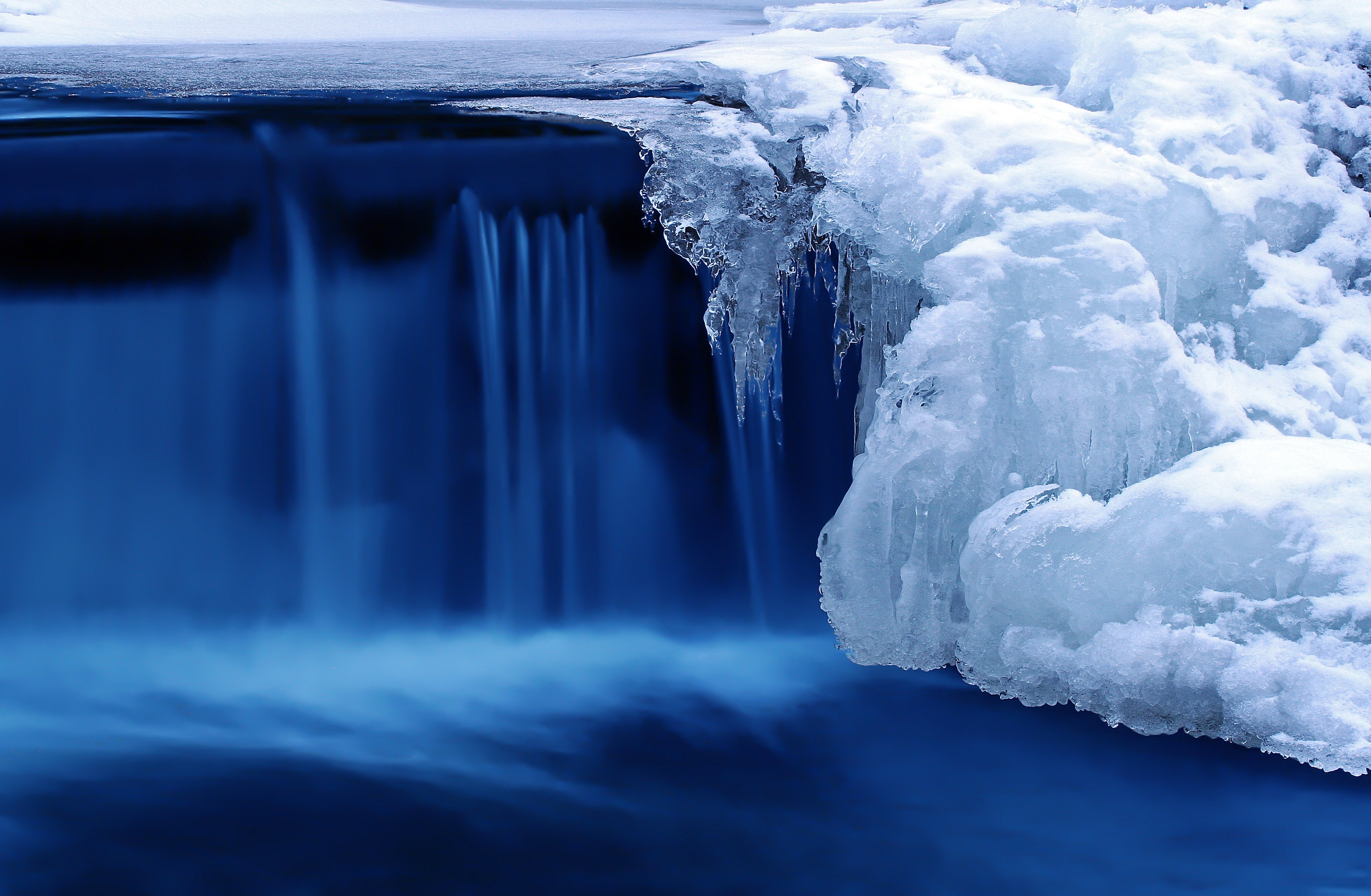 Winter Waterfall River Wallpaper X