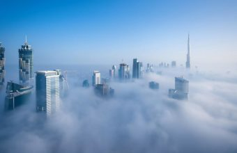 Wondrous Skyline Of Dubai In Fog Wallpaper 1920x1080 340x220