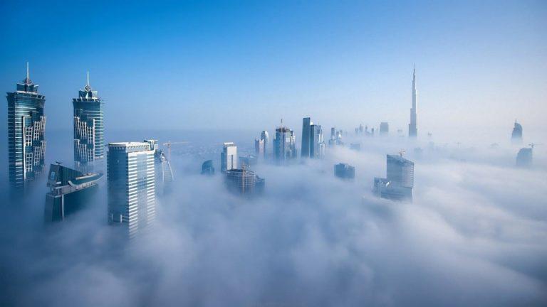 Wondrous Skyline Of Dubai In Fog Wallpaper 1920x1080 768x432