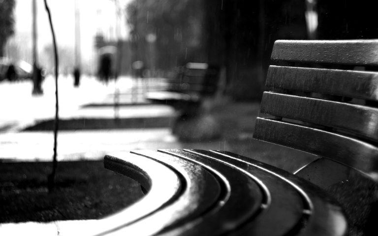 Bench Rain BW Black White Wallpaper 1920x1200 768x480