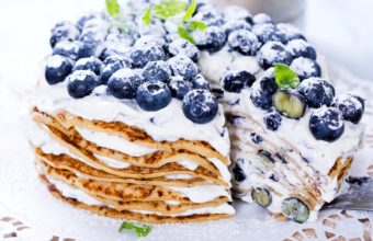 Cake Pancakes Berries Blueberries Wallpaper 1920x1080 340x220