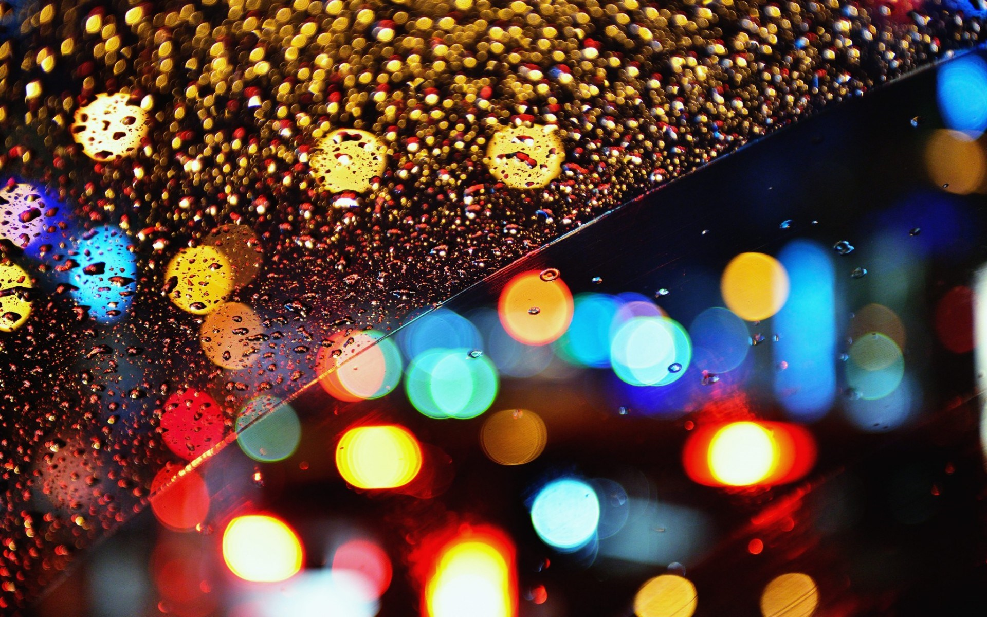 Glass Rain Drops Bokeh Lights Night Wallpaper 1920x1200 340x220