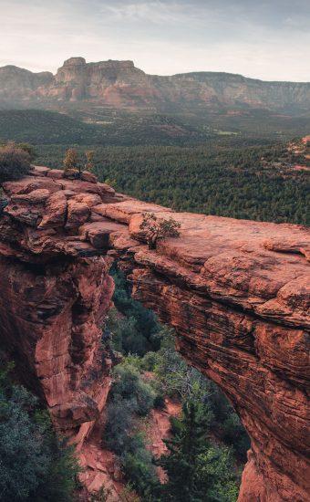 Grass Red Mountains Wallpaper 340x550