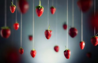 Minimalistic Fruits Hanging Strawberry Wallpaper 1920x1200 340x220
