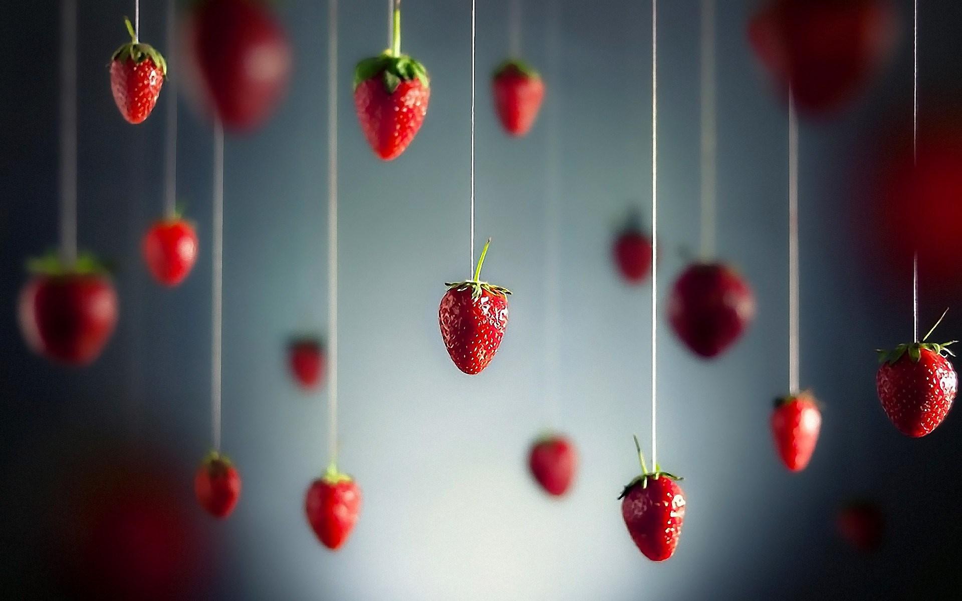 Minimalistic Fruits Hanging Strawberry Wallpaper 1920x1200