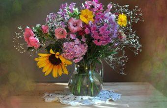 Sunflowers Petunia Gypsophila Wallpaper 1750x1470 340x220