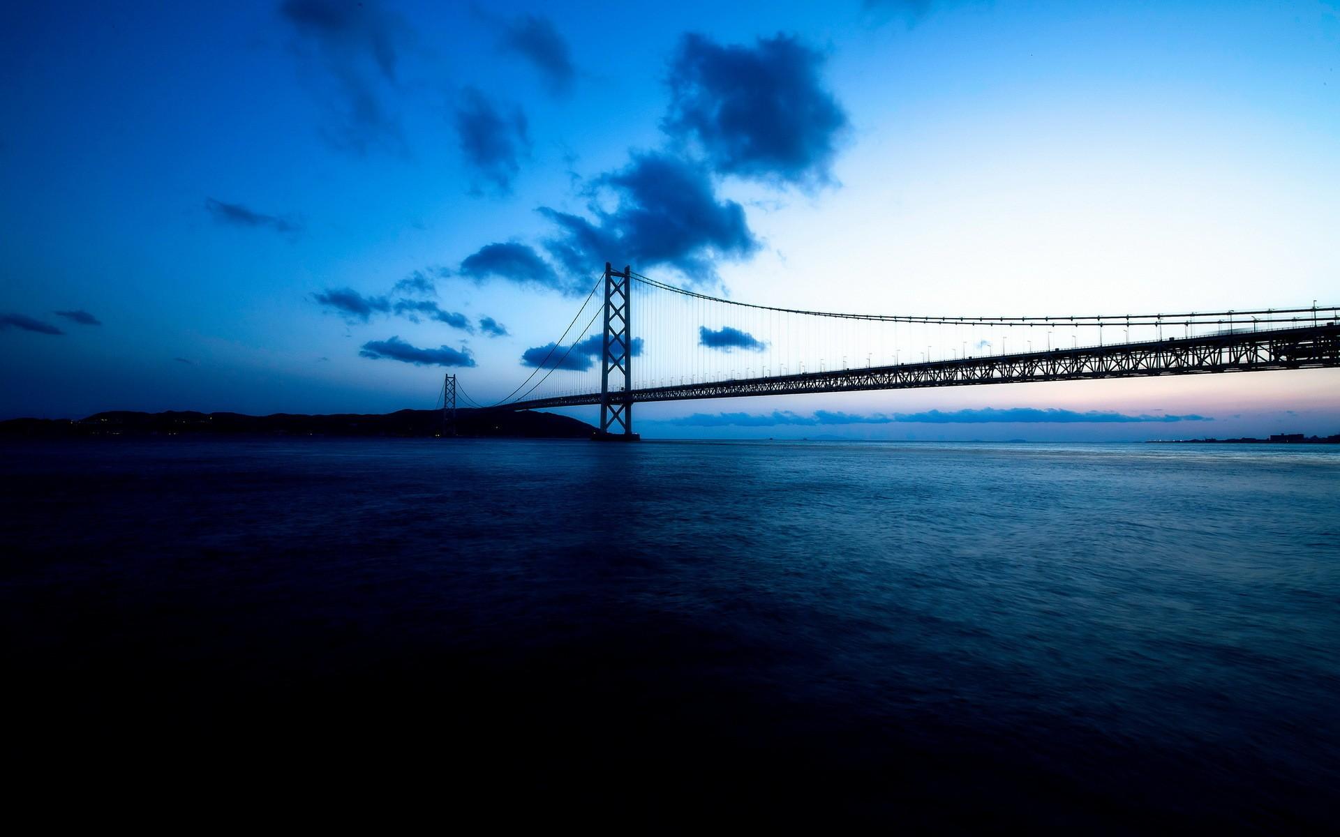 Bridge Bridges Ocean Sea Night Sky