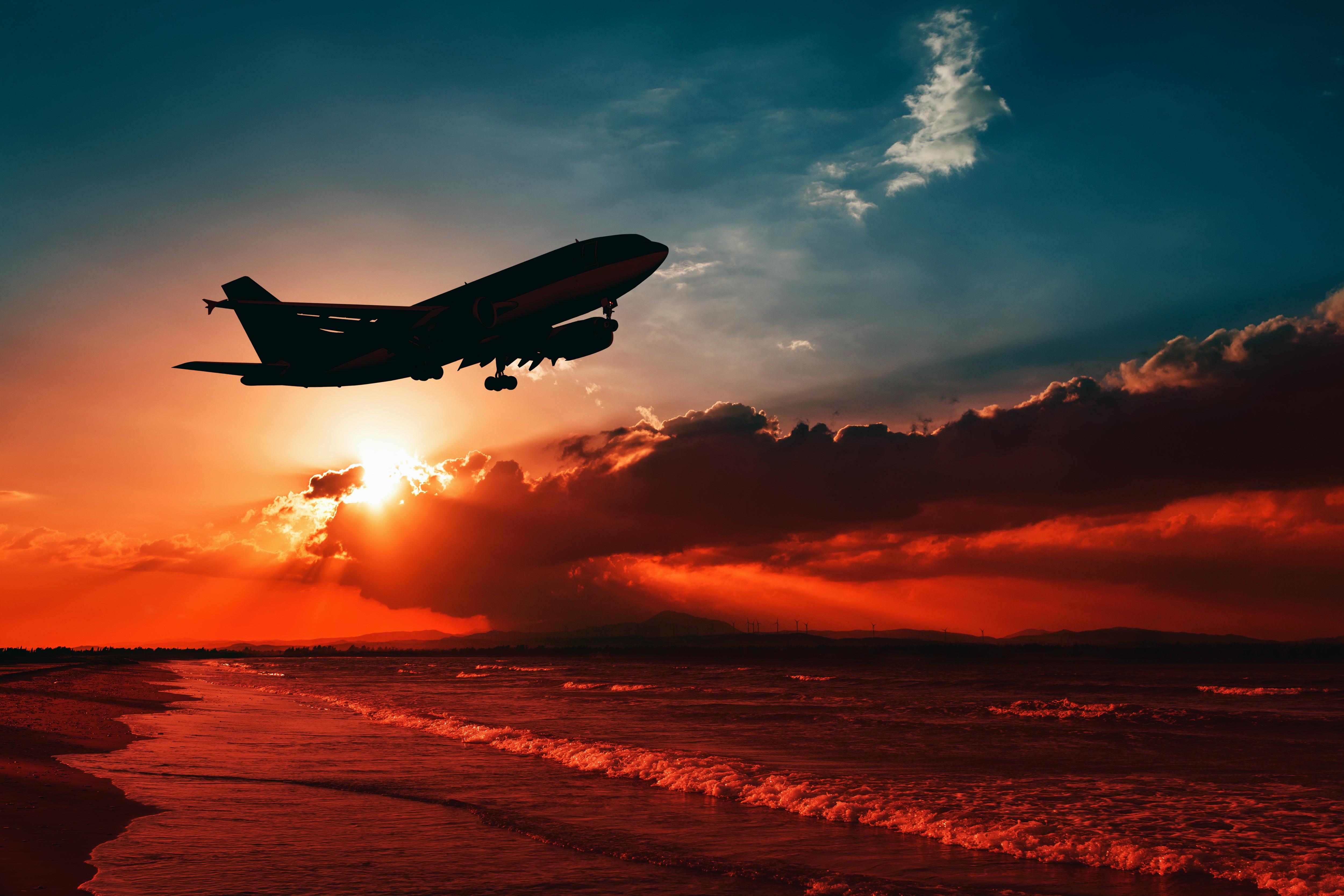 взлет самолет ночь загрузить