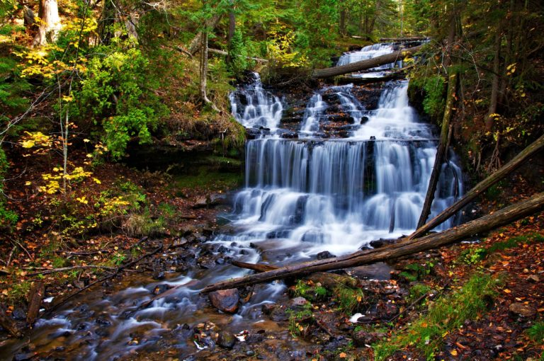 Autumn Waterfall Cascade Trees Nature Wallpaper 4672 X 3104 768x510