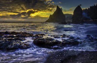 Beach Rocks Clouds Sunset Sea Ocen 1229 x 768 340x220
