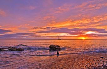 Beaches Sea Ocean Sky Sunset Waves Wallpaper 1229 x 768 340x220