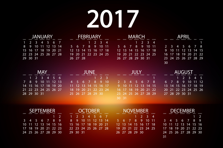скачать обои на рабочий стол с календарем на 2017 № 194740 бесплатно
