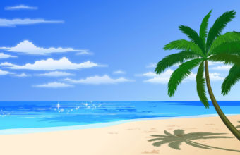 Cartoon Beach Tree 1920 x 1200 340x220