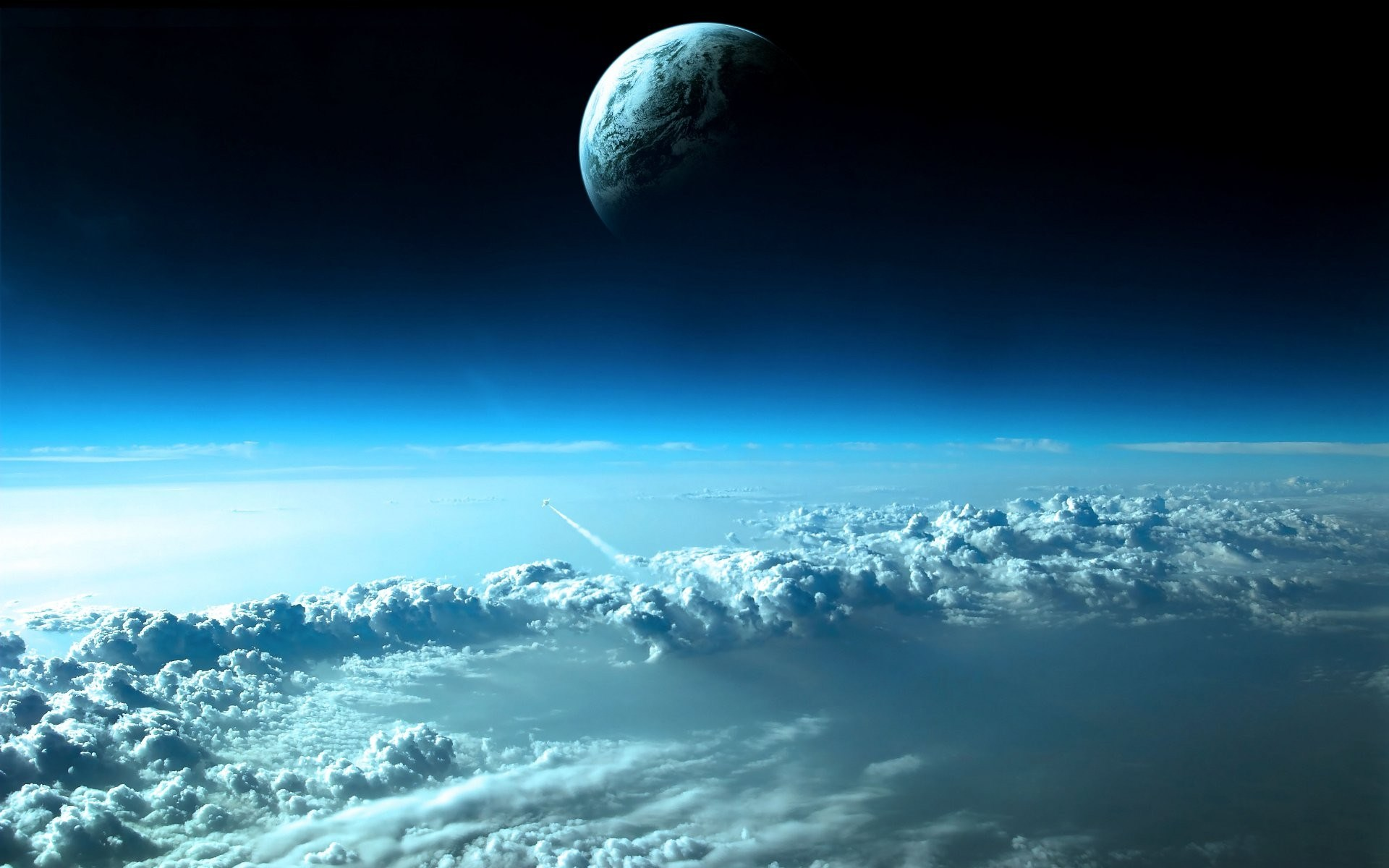 Clouds Outer Space Planets Earth Wallpaper 1920x1200