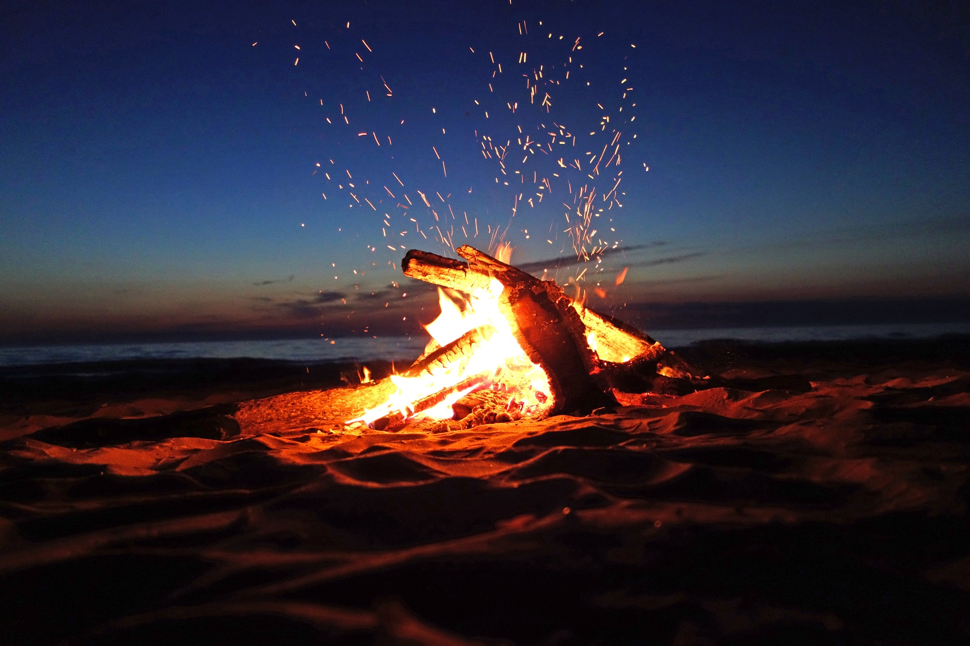Beach Fire Wallpaper Free: Campfire Ready For Marshmallows