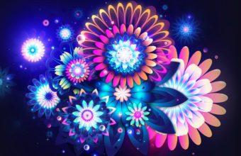 Flowers Neon Color 1920 x 1080 340x220