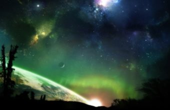 Green Outer Space Horizon Trees Stars 1920 x 1200 340x220