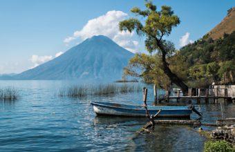 Guatemala Boat Tree Lake Volcano Lakes 1920 x 1200 340x220