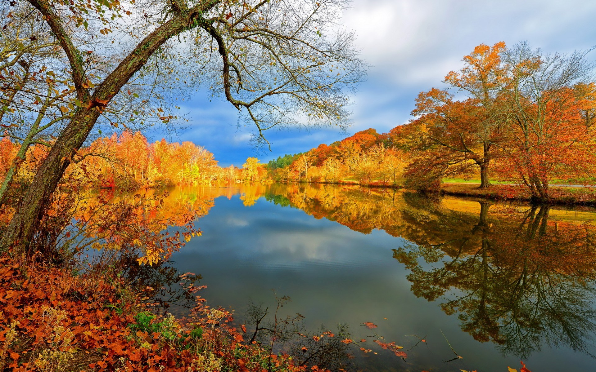 autumn landscape lake nature 1200 1920