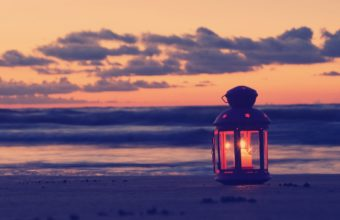 Lamp Candle Beach Sand Sea Evening 1920 x 1200 340x220