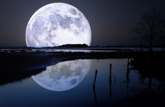 Landscape Full Moon Reflection 1680 x 1050 340x220