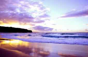 Landscape Sea Sunset Waves Beach 1920 x 1200 340x220