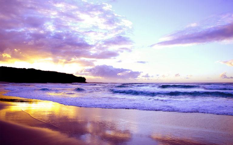 Landscape Sea Sunset Waves Beach 1920 x 1200 768x480