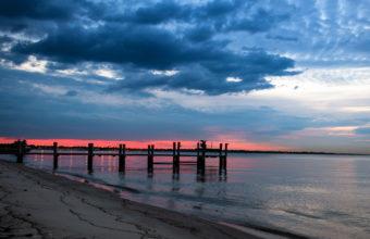Night Sea Bridge Sky Landscape Ocean 2560 x 1600 340x220