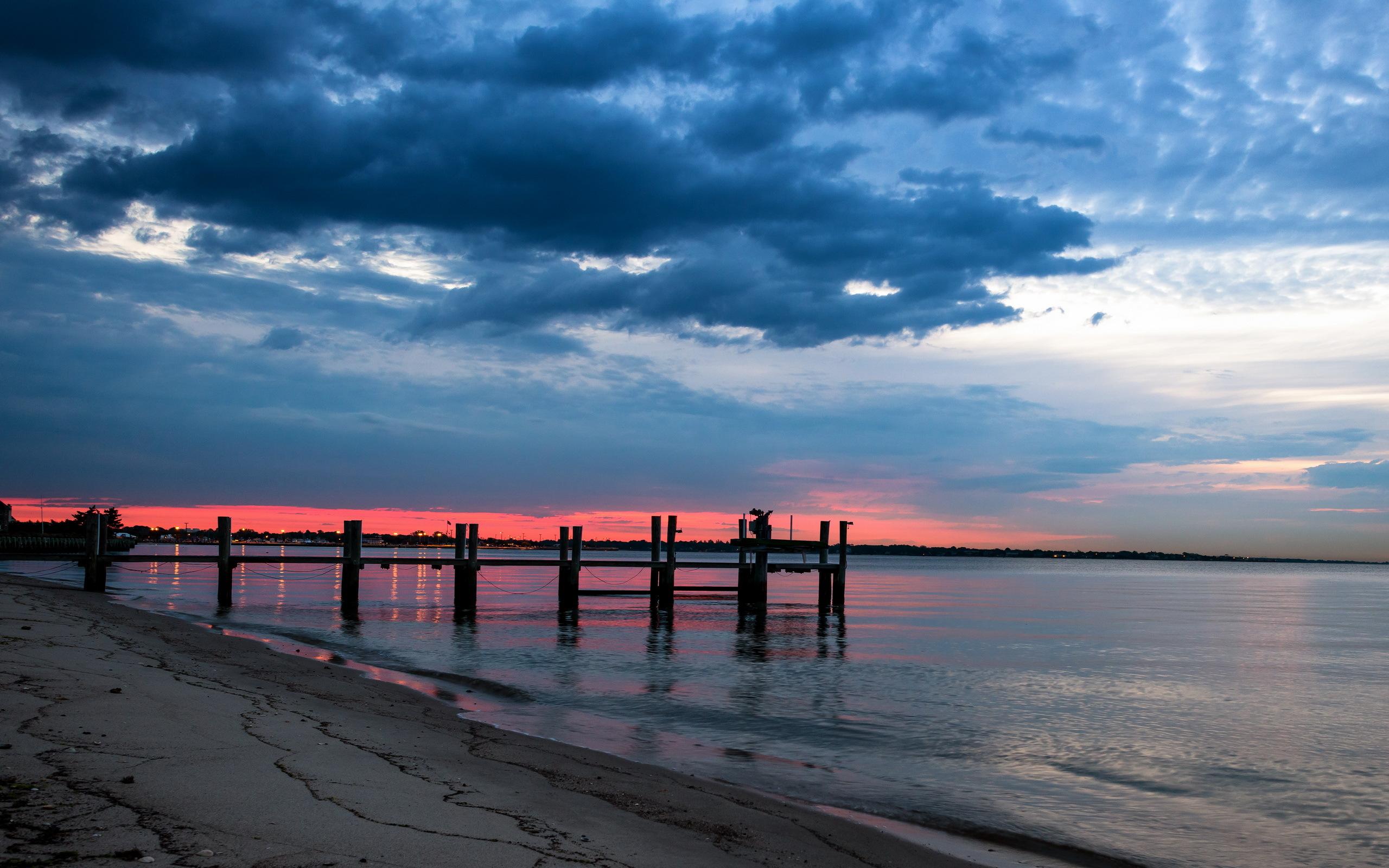 Night Sea Bridge Sky Landscape Ocean