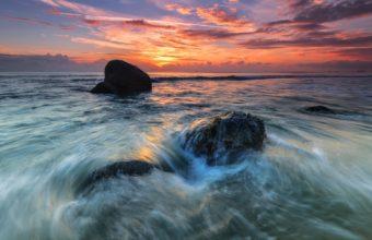 Ocean Clouds Sunset Rocks Stones 1920 x 1200 340x220