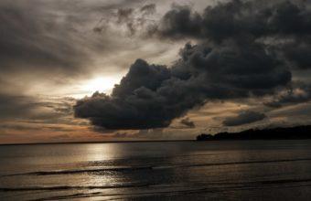 Ocean Sea Sunset Sunrise Storm Clouds Wallpaper 1920 x 1200 340x220