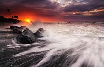 Ocean Sunset Beach Rocks Stones 1920 x 1200 340x220