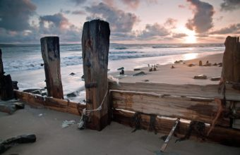 Ocean Waves Wood Sunset Sunrise Sky 1920 x 1200 340x220
