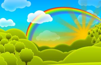 Rainbow Vector Cartoon Wallpaper 2560 x 1600 340x220