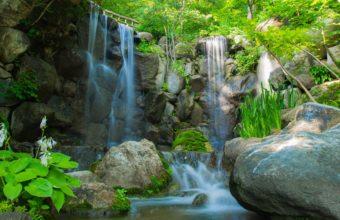 River Waterfall Rocks Plants Trees Nature 2560 x 1600 340x220