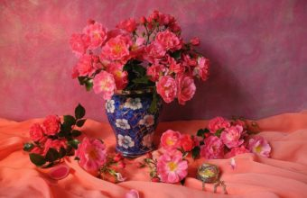 Roses Vase Pink Color Flowers Bouquet 2048 x 1536 340x220