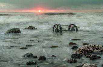 Sea Sunset Landscape Wheel Ocean 1920 x 1200 340x220