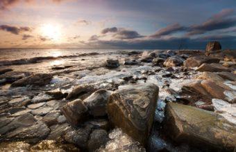 Seascapes Ocean Sea Rocks Sunset 1920 x 1200 340x220