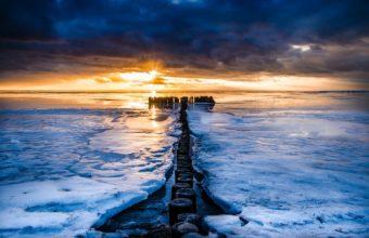 Sunrise Sunset Sea Ice Clouds Nature 2048 x 1255 340x220