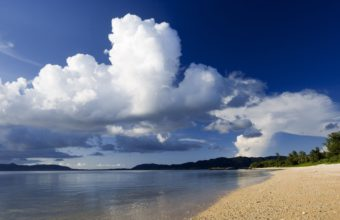 Sunset Mountains Ocean Clouds 1920 x 1080 340x220