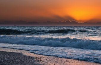 Sunset Ocean Clouds Landscapes 1920 x 1080 340x220