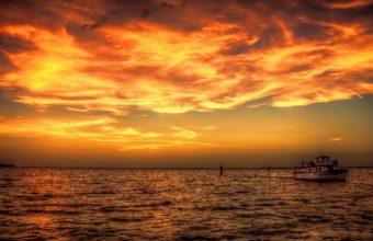 Sunset Sea Ship Ocean Sky Clouds Boat 1920 x 1200 340x220