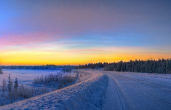 Sunset Winter Road 2525 x 1716 340x220