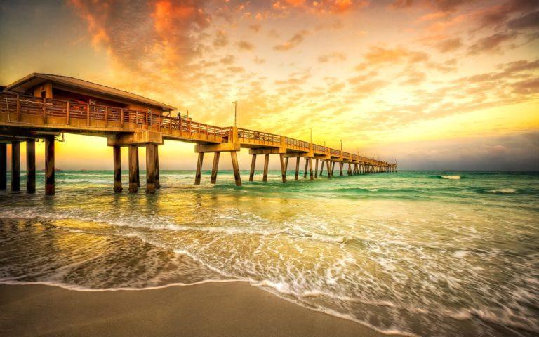 Water Sunset Sunrise Ocean Bridges 2560 x 1600 768x480