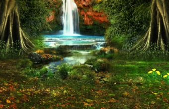 Waterfall Trees Vegetation Nature 2560 x 1600 340x220