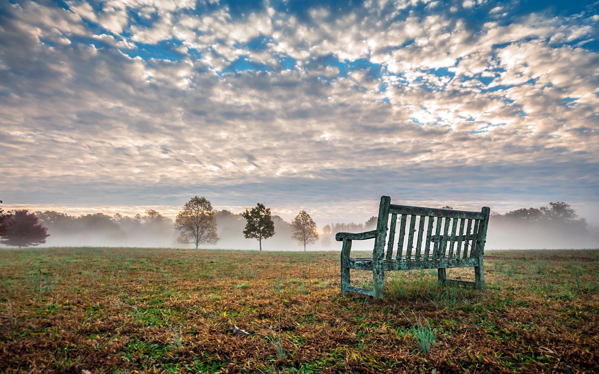 небо поле скамейка без смс